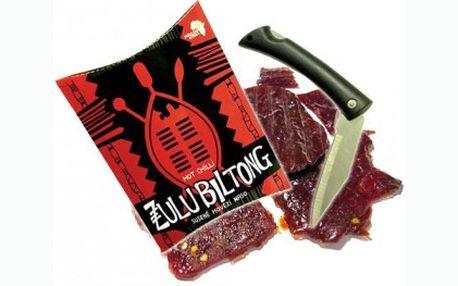 Sušené maso z prémiového hovězího masa s vysokým obsahem bílkovin a velmi nízkým obsahem tuků a sacharidů. Ideální pro fitness, outdoorové aktivity a sport. Navíc získáte otvírací nůž zdarma!