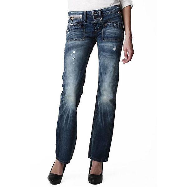Dámské tmavě modré džíny s vyšisovanými koleny Replay