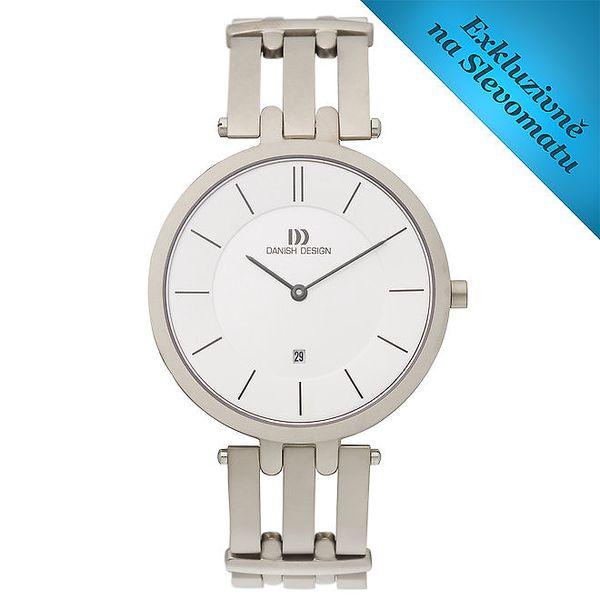 Dámské kulaté hodinky s bílým ciferníkem Danish Design