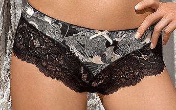 Luxusní kalhotky Elena šortky z jemného saténu s originálním designem