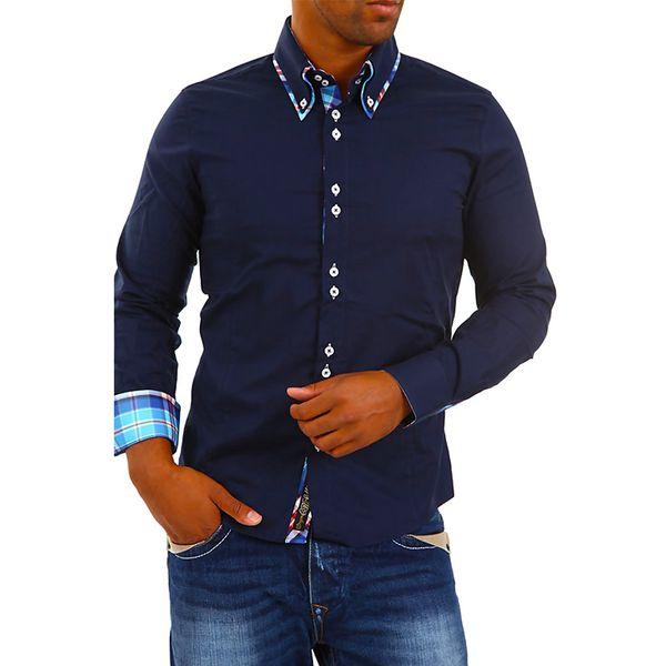 Pánská košile Carisma tmavě modrá kostičkovaný lem