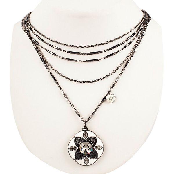 Dámský náhrdelník Guess stříbrný velký přívěšek