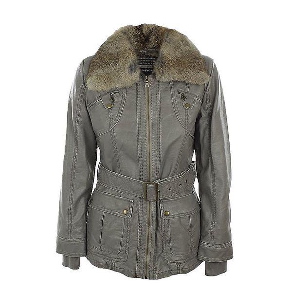 Dámská šedá bunda s kožíškovým límcem Company&Co