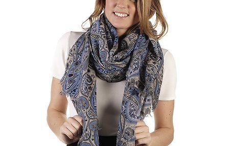 Dámská šála s modrým paisley potiskem Ada Gatti