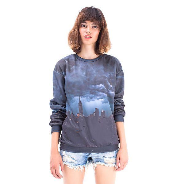 Dámský šedý svetr s potiskem NYC Mr. GUGU & Ms. GO