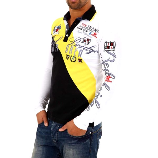 Pánská polokošile Redbridge bílo-žluto-černá