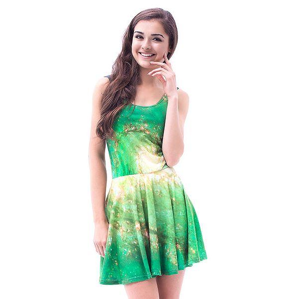 Dámské zelené galaktické šaty se skládanou sukní Mr. GUGU & Ms. GO