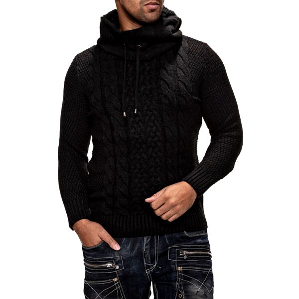 Pánský svetr Carisma černý s kapucí