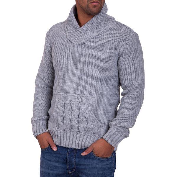 Pánský svetr Carisma šedý s kapsou