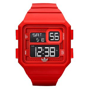 Červené digitální hodinky se stopkami Adidas