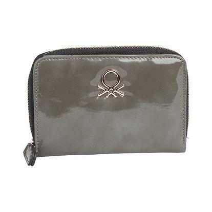 Dámská lakovaná šedá peněženka Benetton