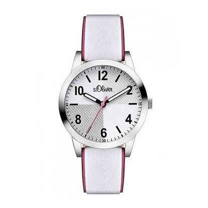 Dámské světlé analogové hodinky s barevnou vteřinovkou s.Oliver