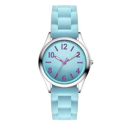 Dětské tyrkysové hodinky s fialovými indexy s.Oliver