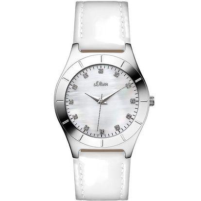 Dámské bílé hodinky s kamínky s.Oliver