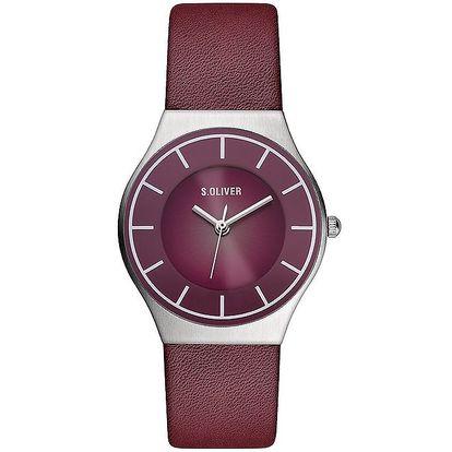 Dámské vínové analogové hodinky s.Oliver