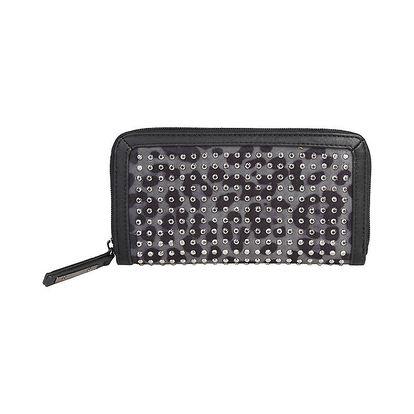 Dámská černá podlouhlá peněženka s cvočky Sisley