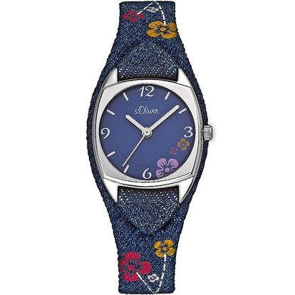 Dětské modré hodinky s květinovým vzorem s.Oliver