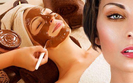 Čokoládová maska, oční maska ze zeleného čaje + kosmetické ošetření