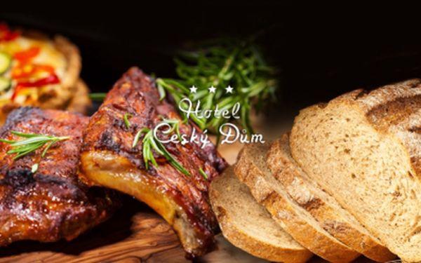 Šťavnaté KILO marinovaných PEČENÝCH ŽEBÍREK s dresinkem dle Vašeho výběru, zeleninovou oblohou, křenem, hořčicí, okurkou a chlebem za 179 Kč, v restauraci Český Dům!