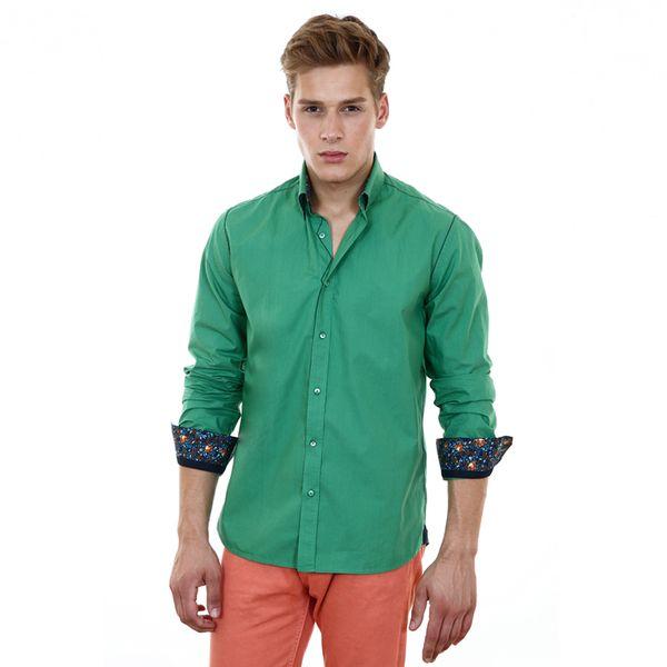 Pánská košile Pontto zelená barevný lem