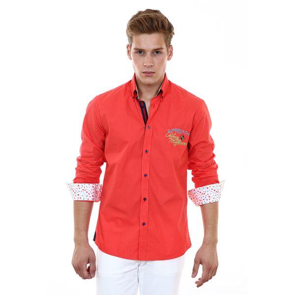 Pánská košile Pontto korálová s potiskem