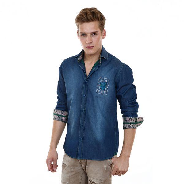 Pánská košile Pontto tmavě modrá džínová