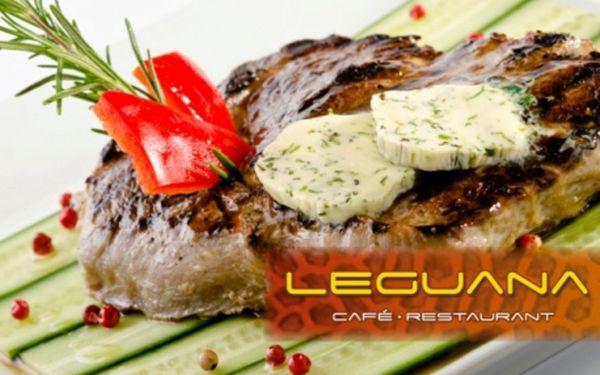 Sleva na VEŠKERÁ JÍDLA ve známé restaurace Leguana! Česká a italská jídla: steaky, žebírka, těstoviny, ryby, saláty, domácí dezerty a další se skvělou slevou.