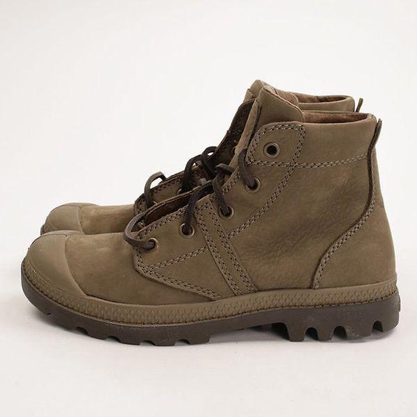 Dámské hnědé šněrovací kotníkové boty Palladium