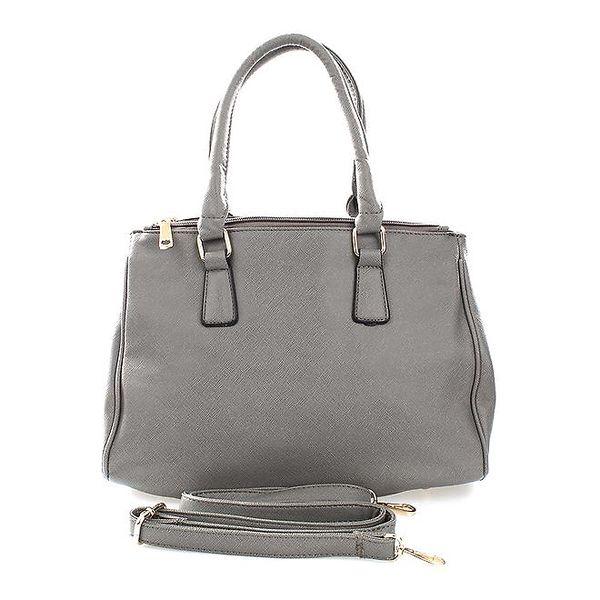 Dámská šedá kabelka s patentkovým zapínáním London Fashion