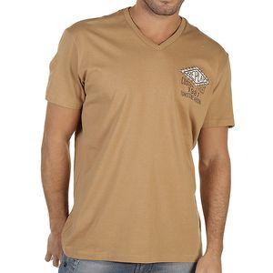 Pánské tmavě béžové tričko s potiskem Replay
