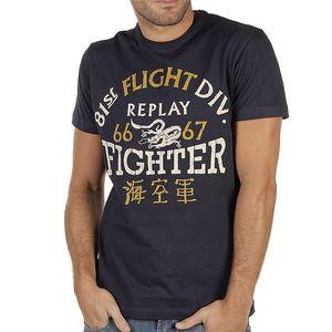 Pánské tmavě modré tričko s potiskem Replay
