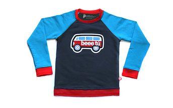 Šedo-modrý svetřík - auto s okýnkama na fotky