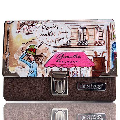 Malá hnědá peněženka I love Paris