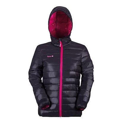 Černá bunda s fialovým lemem