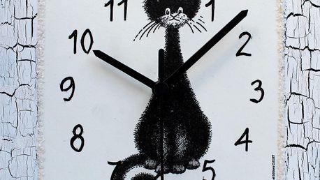 Nástěnné hodiny Kocourek