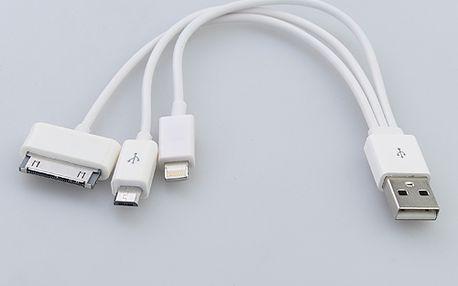 Nabíjecí kabel - 3 konektory (8-pin Apple konektor, 30-pin Apple konektor, micro USB) a poštovné ZDARMA! - 5708092