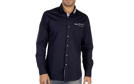Pánská tmavě modrá košile s potiskem na zádech Replay
