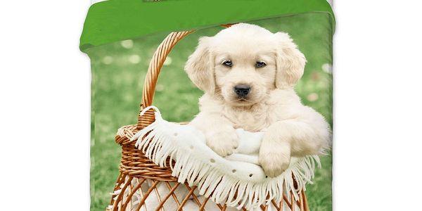 Jerry Fabrics bavlněné povlečení Pes v košíku, 140 x 200 cm, 70 x 90 cm