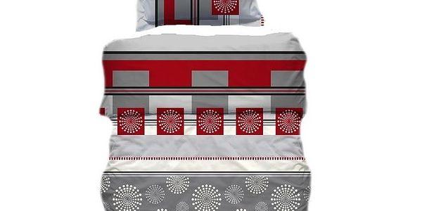 Přikrývka a polštář šedo-červená 70x90, 140x200