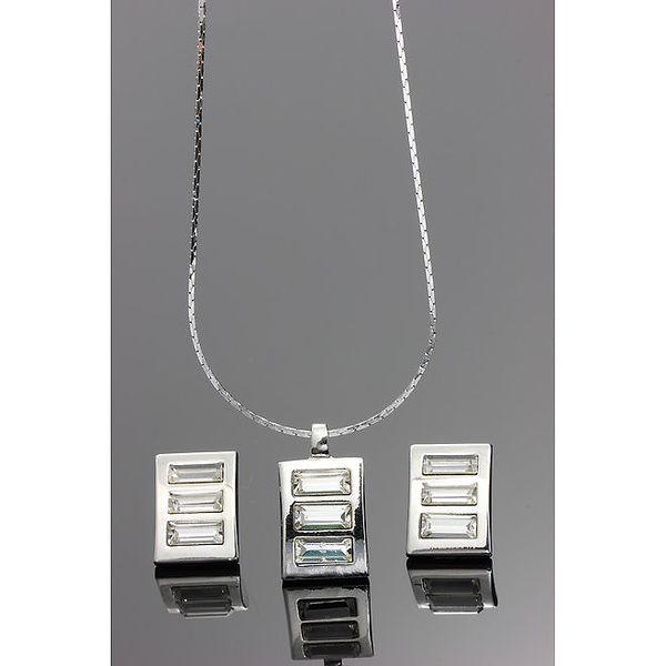 Dámský set - obdélníkové náušnice a řetízek s přívěskem Swarovski