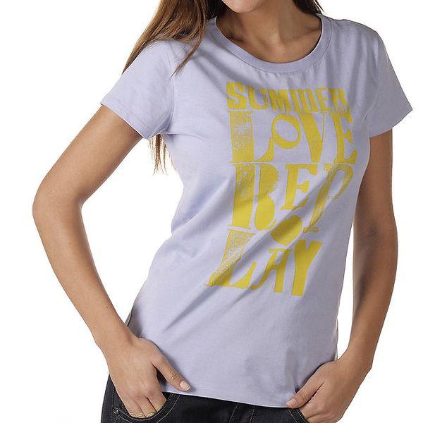 Dámské fialové tričko se žlutým potiskem Replay