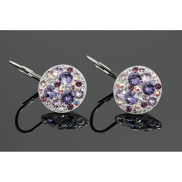 Dámské náušnice s krystalky Swarovski ve fialových odstínech