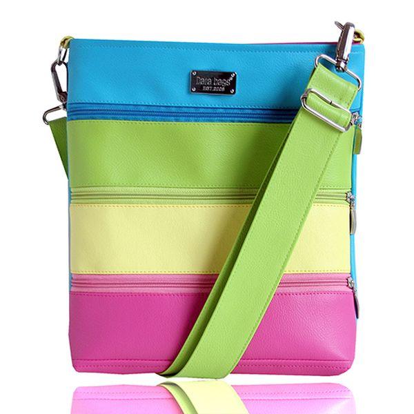 Střední pruhovaná taška přes rameno - růžová/zelená/tyrkysová