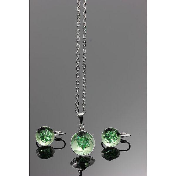 Dámský zelený set - kulaté náušnice a řetízek s přívěskem Swarovski