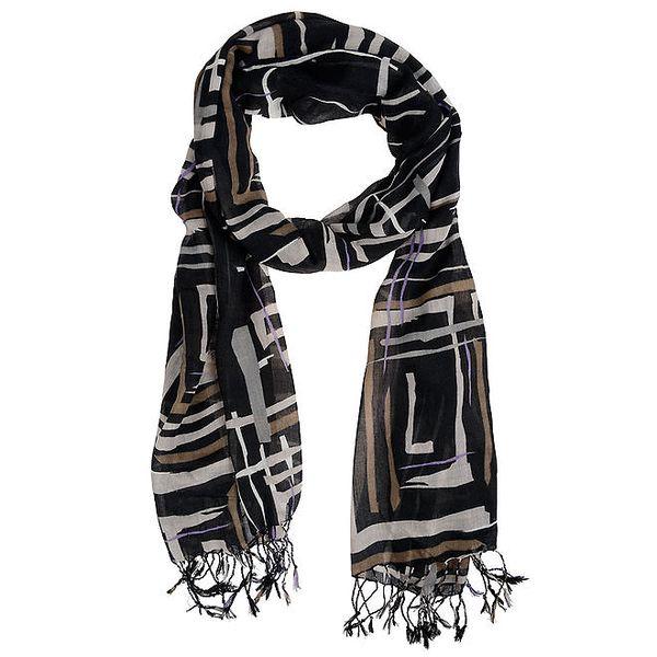 Dámský černý šátek s hnědo-šedým potiskem Invuu London