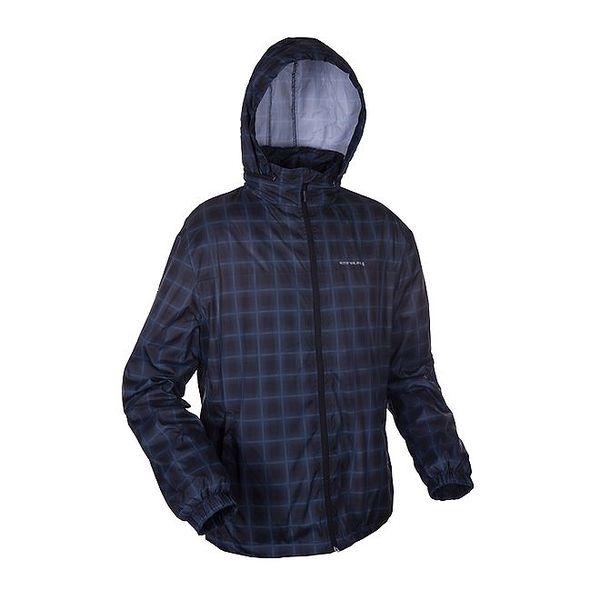 Pánská černo-modrá kostkovaná outdoorová bunda Envy