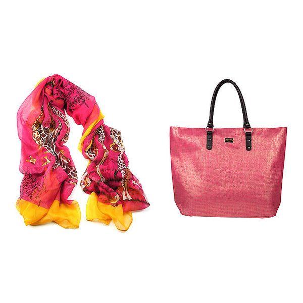 Dámský fuchsiový šátek a taška Invuu London