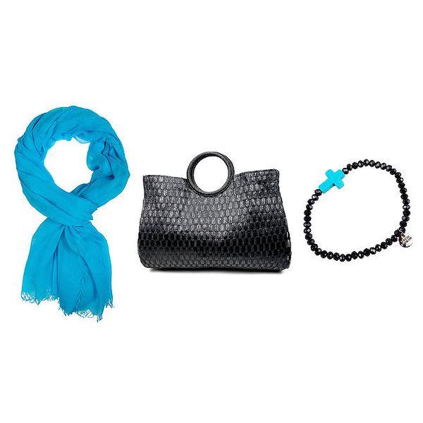 Dámský set - modrý šátek, náramek a černá kabelka Invuu London