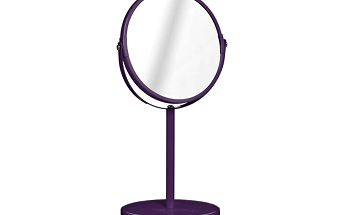 Kosmetické zrcátko s kovovým stojánkem - fialové