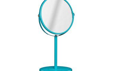 Kosmetické zrcátko s kovovým stojánkem - tyrkysové